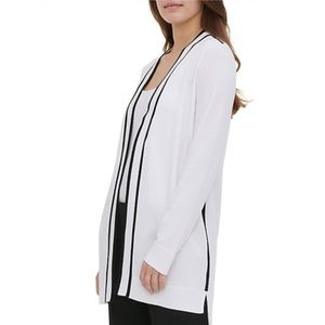 Calvin Klein Contrast-Piping Open-Front Cardigan